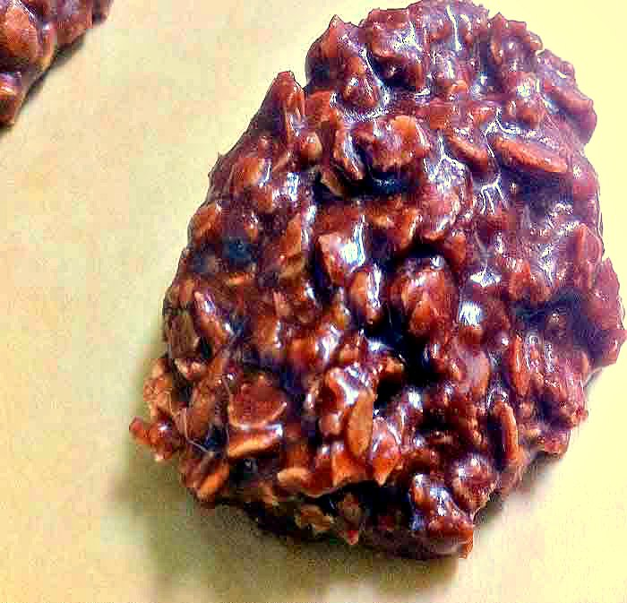 Chewy no bake chocolate oatmeal cookie.