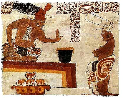 Ancient scene of two Mayan men with a pot of chocolate.  Wikimedia Commons