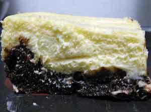 slice of brownie cheesecake.
