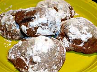 Buttery chocolate meltaway cookies coated with powdered sugar.
