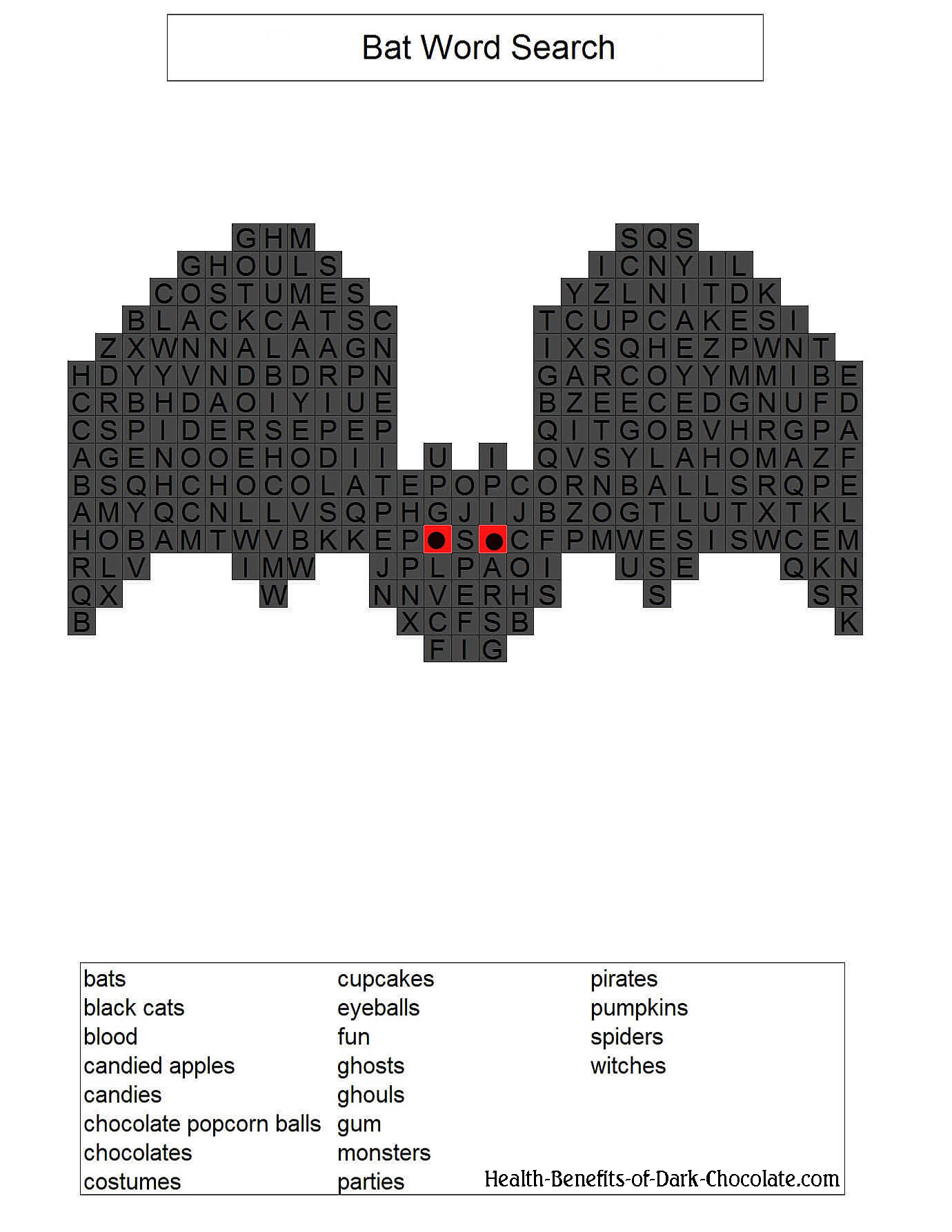 Bat shaped word search.