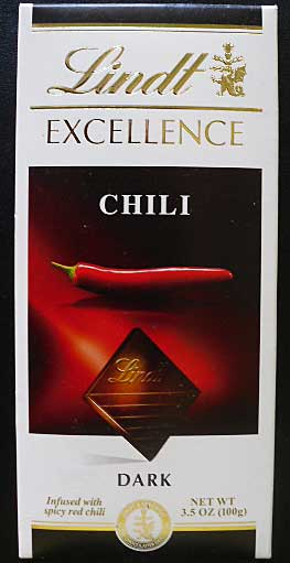 Lindt dark chocolate chili bar.