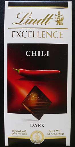 Lindt dark chocolate chili bar.