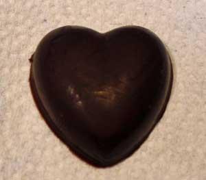 molded dark chocolateheart candy