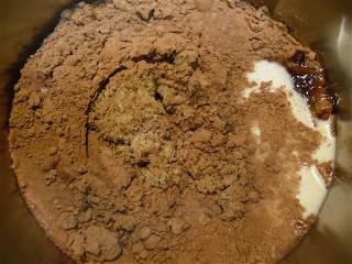 Ingredients for chocolate fudge recipe in the saucepan.