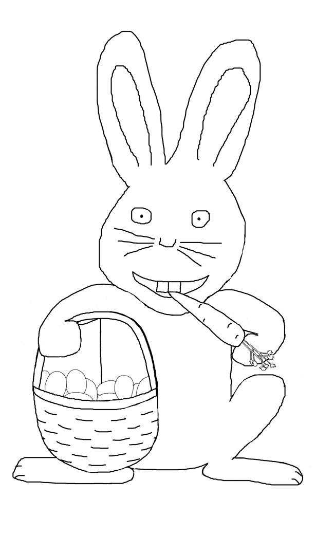 Easter bunny eating carrot and holding a basket of eggs.
