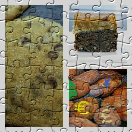 Collage of chocolate jigsaw puzzle pictures.