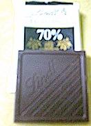 Lindt 70 percent thin dark chocolate squares.