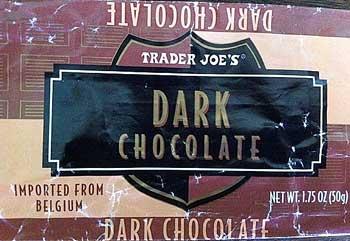 Belgian dark chocolate bar from TJs.