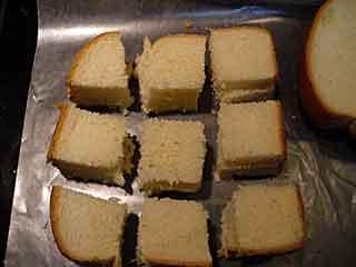 Sliced bread for chocolate bread pudding recipe.