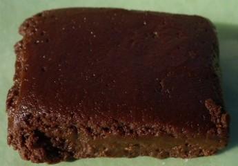 Slab of homemade chocolate fudge.