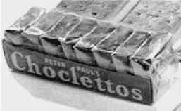 Emergency chocolate ration.  Wikimedia Public Domain