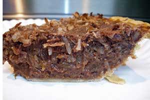 Slice of german chocolate pie.