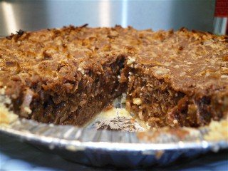 German chocolate pie ready to eat.