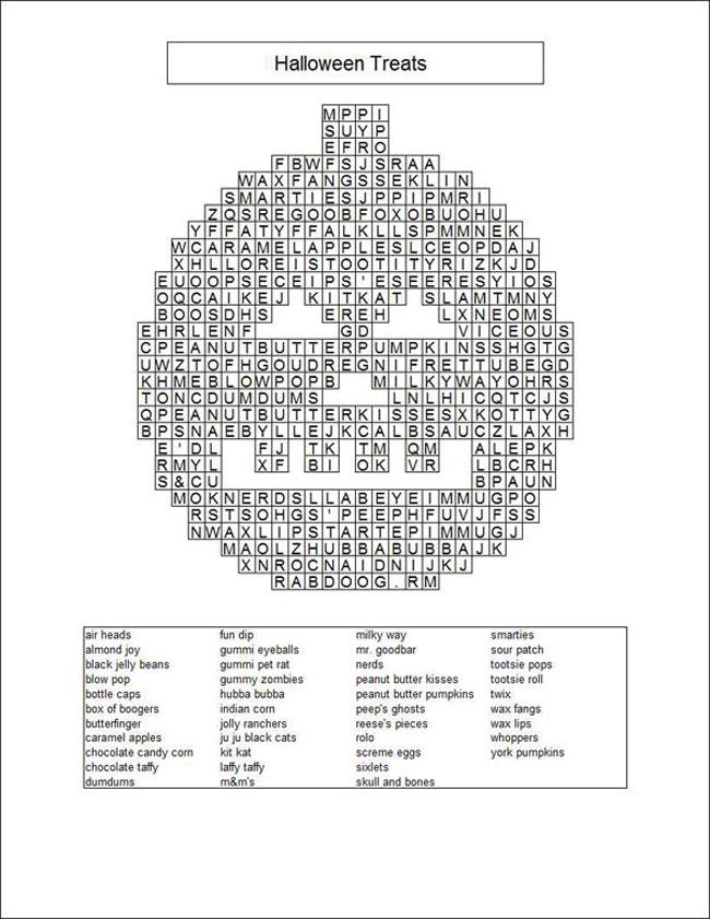 Pumpkin-shaped halloween word game