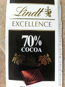 Lindt 70% Swiss dark chocolate bar.